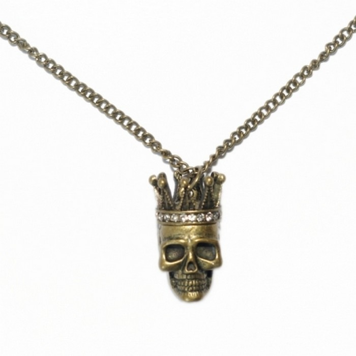 Antique gold tone skull king necklace with diamante crown